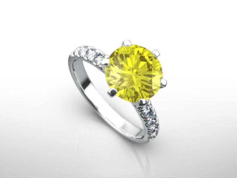 Diamond Ring 2 1/2 Ct Vs2 Vivid Yellow Round Accented Fancy 14 Karat White Gold