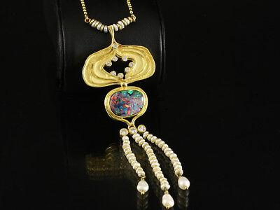 Opal Brillant Collier ca. 4,55ct   750/- & 585/- Gelbgold   Goldschmiede Schroll