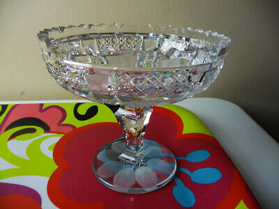 VINTAGE RUBY RED Two Sided Dish Compote On Silver Tone Metal Stand Art Deco  5 34 High 7 Across Top Antique Pedestal Dish