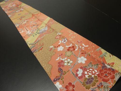 """1K10z40 Japanese Kimono Silk  FABRIC Salmon pink Flowers 42.5"""""""
