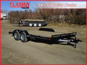 Diamond C 16' Flatdeck Carhauler Trailer- Two 3500 lb Axles!