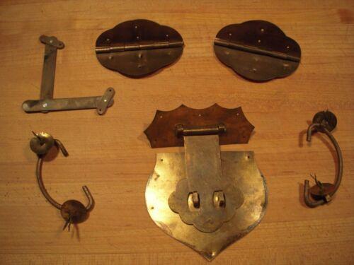 Vintage Storage Trunk / Box Handmade Brass Hardware : Latch Handles Hinges