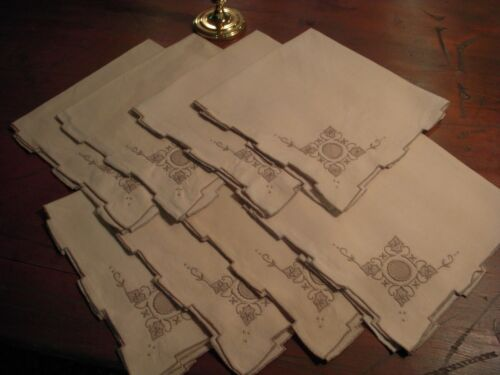 8 Vintage Madeira Ecru Linen Embroidered Drawnwork Napkins - 20-inches Square