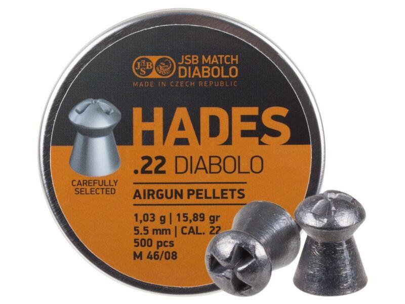 JSB Match Diabolo Hades .22 Cal 15.89 Grain Hollowpoint 500 Count 5.5mm