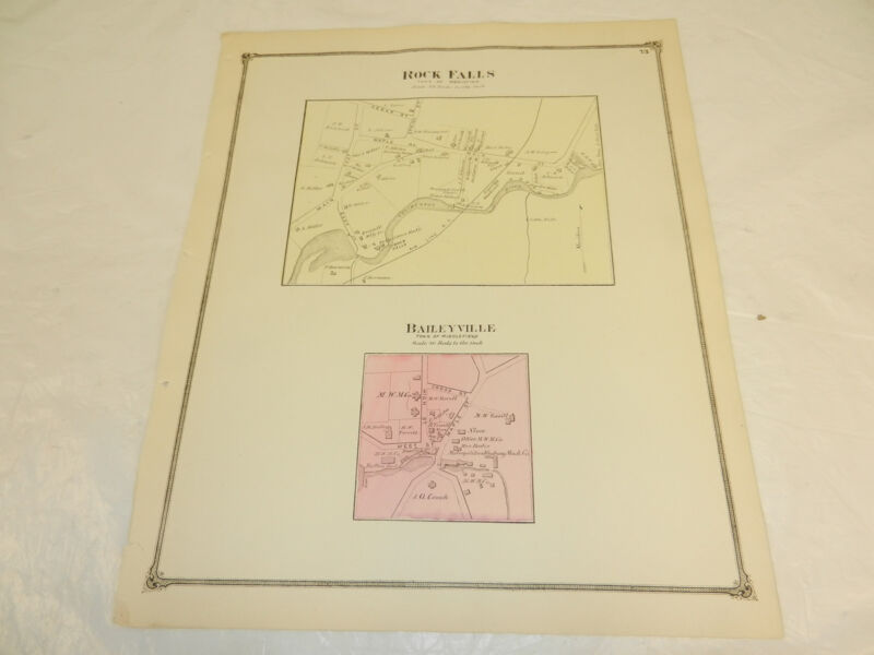 1874 Antique COLOR Map Middlesex County/ROCK FALLS & BAILEYVILLE/MIDDLEFIELD, CT