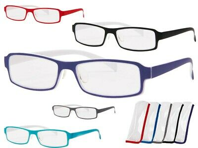Lese-Brille Recht-Eckig Lesehilfe Klar klare Gläser Sehhilfe Stärke Herren Damen