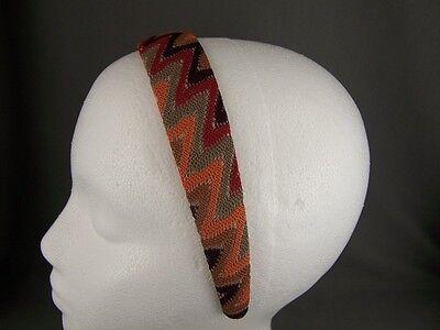 Red Tan Orange Brown crochet macrame zigzag 1.25