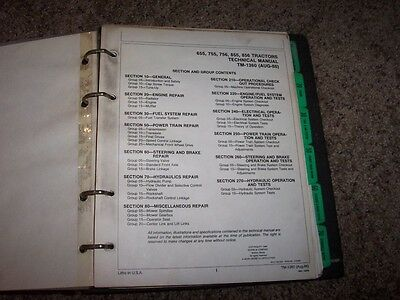 John Deere 655 755 756 855 856 Tractor Tm1360 Service Shop Repair Manual