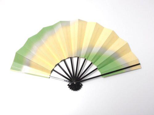 Japanese antique vintage green gold Maisen Ougi Sensu folding fan chacha