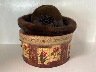 Vintage Breton Style Dark Brown Mink Fur Trimmed & Wool Brim Flower Sunday Hat