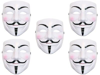 5 Stück V wie Vendetta Maske Mask Guy Fawkes Anonymous Occupy Karneval Kostüm