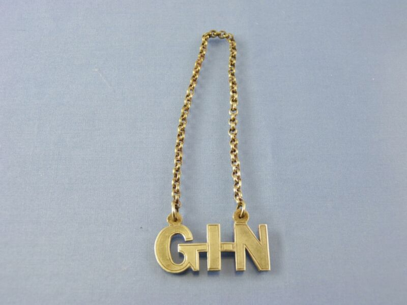 GIN SCRIPT DECANTER LABEL SILVER PLATE BY AMERICAN unknown MAKER