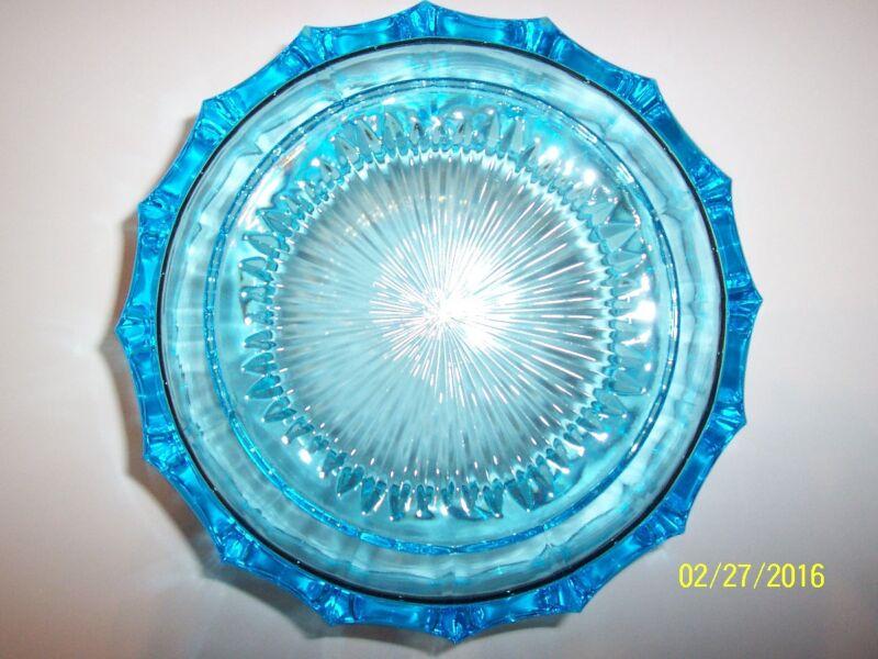 Vintage Fostoria Round Coin Glass Blue Collectible Bowl