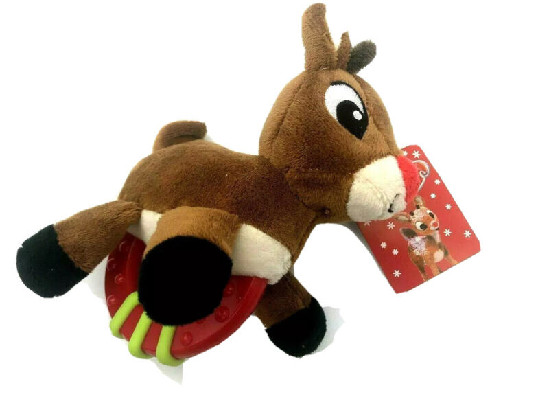 """2021 New Rudolph the Red Nosed Reindeer 6"""" Tall Baby Rattle Plastic Plush"""