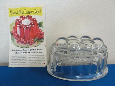 Vintage Glass Jelly Pudding Jello/Knox Gelatin Mold w/Recipes Advertisement