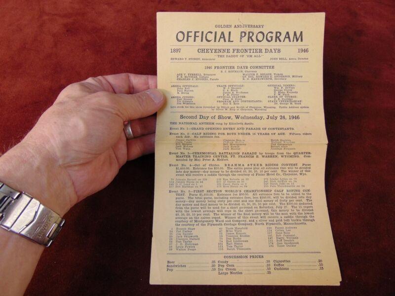 Rare Program CHEYENNE FRONTIER DAYS Rodeo GOLDEN ANNIVERSARY 1946 Oglala Sioux
