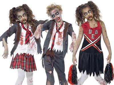 Boy Cheerleader Costume (Zombie School Boy & Girl Family Fancy Dress Halloween Cheerleader Horror)