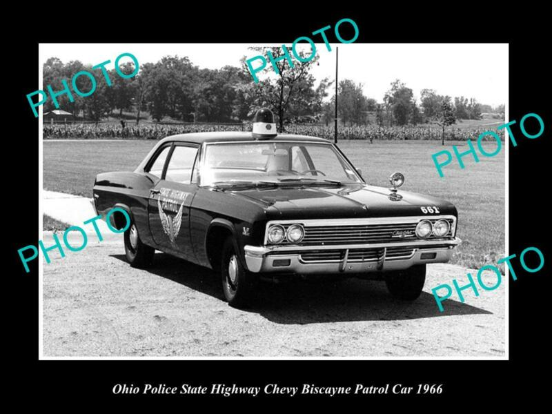 OLD 8x6 HISTORIC PHOTO OF OHIO STATE POLICE PATROL CAR CHEVROLET BISCANE 1966