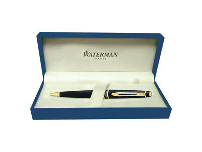 Waterman Expert Black Lacquer with Golden Trim, Ballpoint Pen with Blue ink