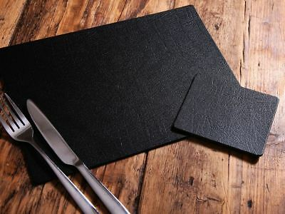 Set of 8 Classic Black Leatherboard Placemats and 8 Coasters UK Made