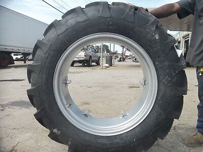 Two 12.4x2812.4-28 8 Ply Ford Jubilee 2n 8n Tractor Tires On 6 Loop Wheels