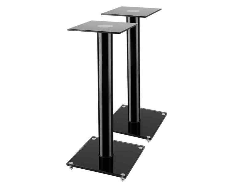 Monoprice Glass Speaker Stand - 23 Inch - Black (Pair) With Cable Management