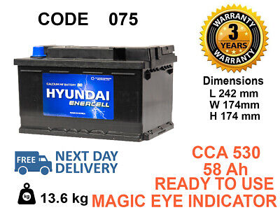 075 Car Battery 3 Years Warranty 60Ah 530cca 12V Genuine OEM ***FITS ALL MAKES**