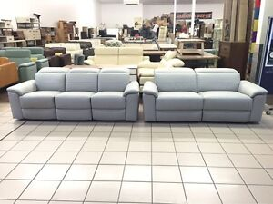 100% LEATHER 3+2.5 SEATER ELECTRIC RECLINER W/ADJUSTABLE HEADREST Logan Central Logan Area Preview