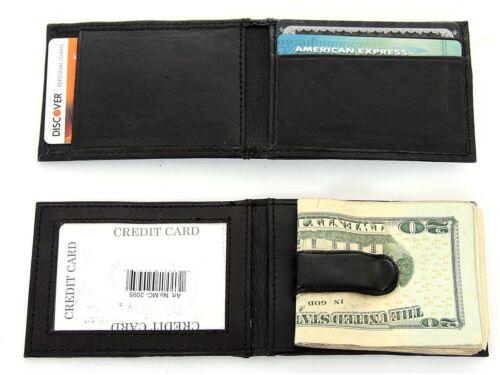 Leather Money Clip Slim Design Credit Card Id Holder Black Men's Wallet