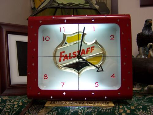 Vintage Mid Century Falstaff Lighted Stars Modern Beer Clock 8 1/2 x  inches