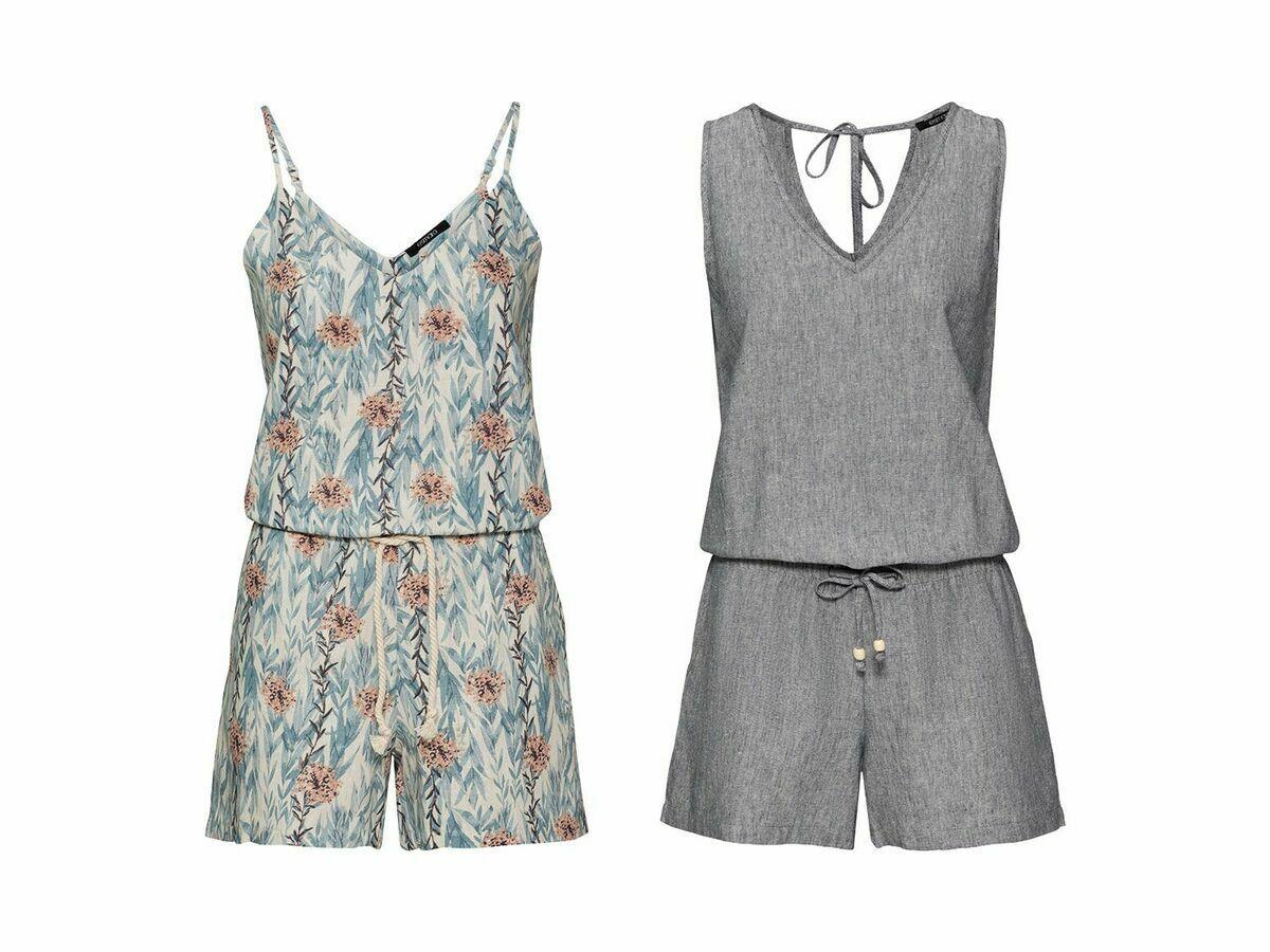 ESMARA® Damen Leinen Jumpsuit Hosenanzug Kurz Overall Einteiler Sommerkleid NEU