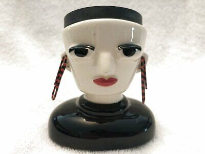 2009 Ceramic Magnetic Paper Clip Holder Woman Head Bust By Amy Hardacre