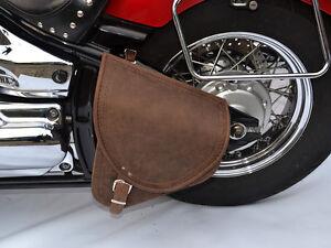 Yamaha-Dragstar-V-star-XVS-1100-Brown-Leather-Swingarm-Saddle-Bag-Pannier-Single