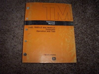 John Deere 790d 790d-lc 892d-lc Excavator Electrical Wiring Hydraulic Manual
