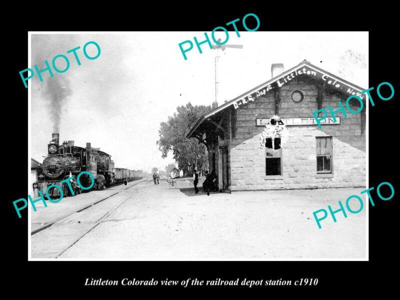 OLD POSTCARD SIZE PHOTO OF LITTLETON COLORADO THE RAILROAD STATION c1910