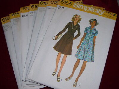 UNCIRCULATED 1973 SIMPLICITY #6155-LADIES RETRO (2 STYLE) DRESS PATTERN 12-46 FF