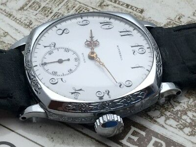 Longines RARE 1909-1914 Trench WWI Watch Art Deco Original Enamel Dial Illinois