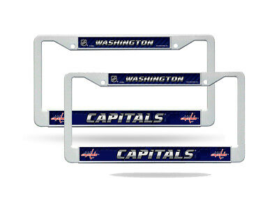 Washington Capitals NHL White Plastic (2) Auto License Plate Frame Set