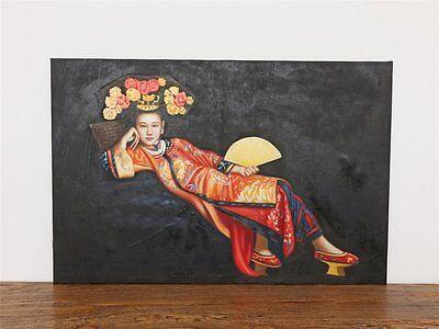 Ölbild schöne chinesische Frauen Ölgemälde handgefertigt B0044