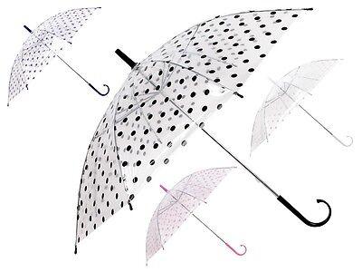 Parapluie droit transparent pointillé classic charmant pour adulte et enfant