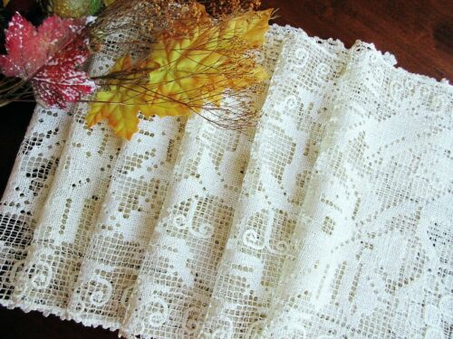 SET: 6 Antique Handmade Italian Knotted Lace Placemats -Grapes Leaves Vines BOSA