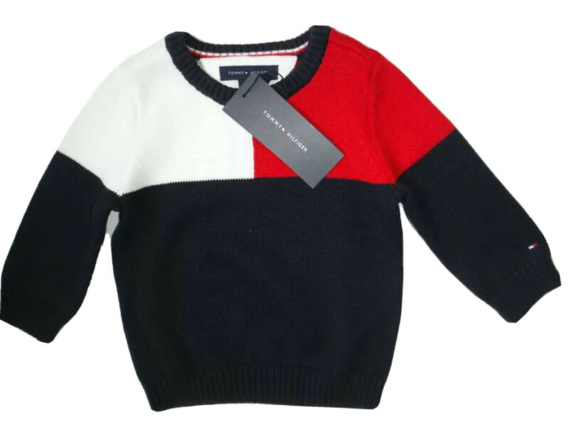 TOMMY HILFIGER BABY BOY  SWEATER RED NAVY WHITE SIZE 6-9 MONTHS