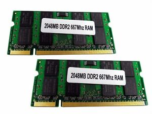 2x 2GB=4GB Notebook RAM DDR2 667MHz PC2-5300 200 pin DIMM NEU