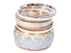Women's Fashion Ivory Gold Wide Cuff & Thin Bangles Set Silver