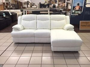 100% LEATER 2.5 SEATER + CHAISE ELECTRIC RECLINER (WHITE) Logan Central Logan Area Preview