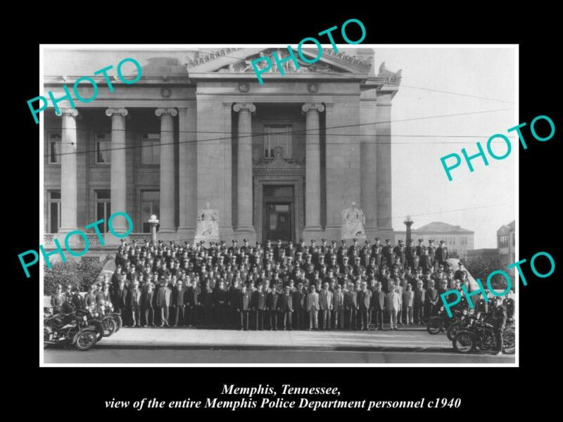 OLD 8x6 HISTORIC PHOTO OF MEMPHIS TENNESSEE THE WHOLE POLICE DEPARTMENT c1940