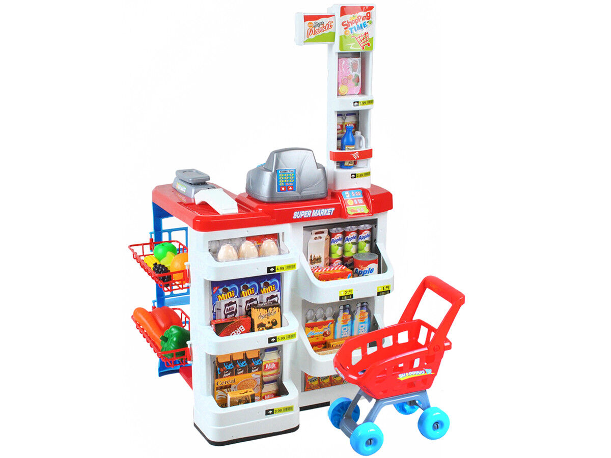 Kinder Supermarkt Kaufmannsladen mit Einkaufswagen Licht Sound Scanner 6747