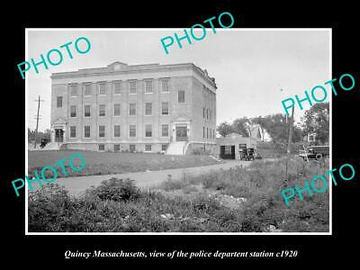 OLD POSTCARD SIZE PHOTO OF QUINCY MASSACHUSETTS THE POLICE STATION c1920
