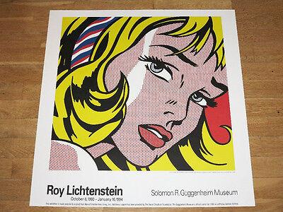 "ROY LICHTENSTEIN POSTER "" GIRL WITH HAIR RIBBON "" GUGGENHEIM MUSEUM 1993 in MINT"