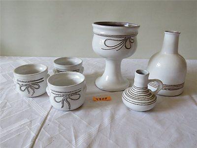 DDR Strehla Keramik Set Blumenübertopf Gesteckschale Vase Shabby Chic 6 tlg.